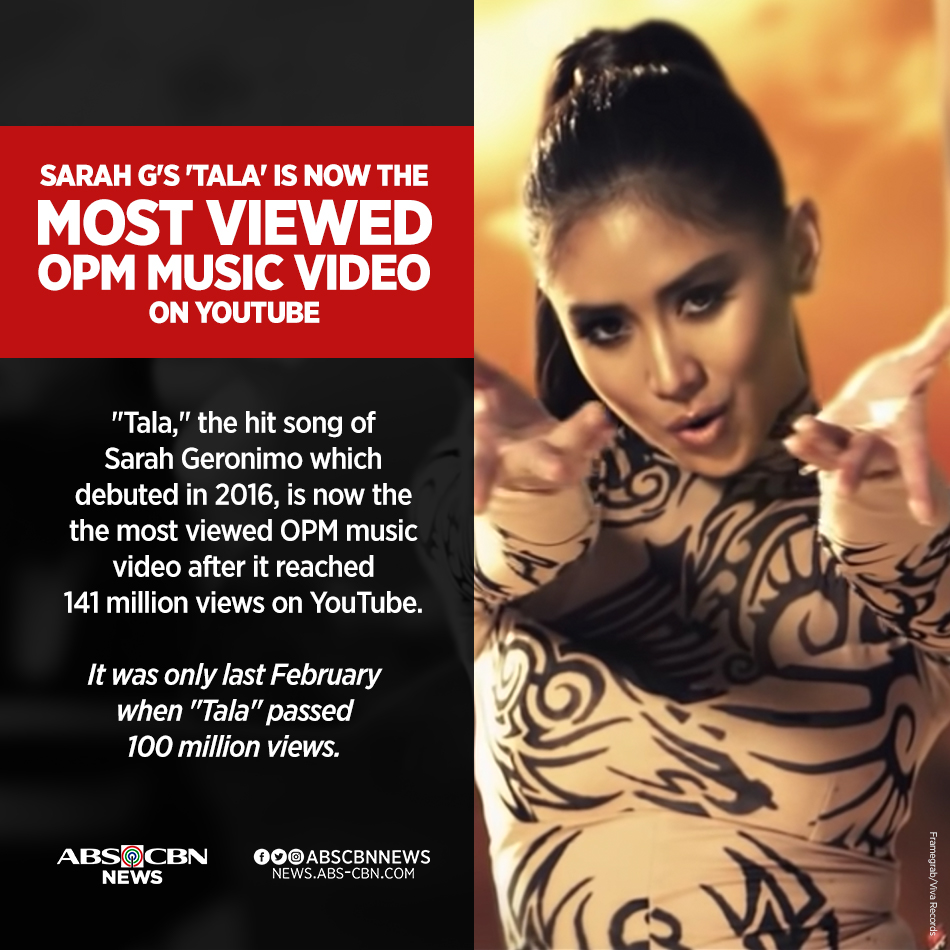 Tala By Sarah Geronimo Is Now The Most Viewed Opm Music Video