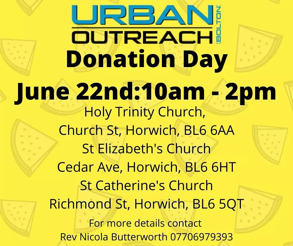 Great to hear about the different collections going on around the town for the Food Hub. On Monday 22nd Horwich churches are holding another collection day! Details are below to find your nearest donation point. Thank you so much for your generosity! @StLizziesCofE