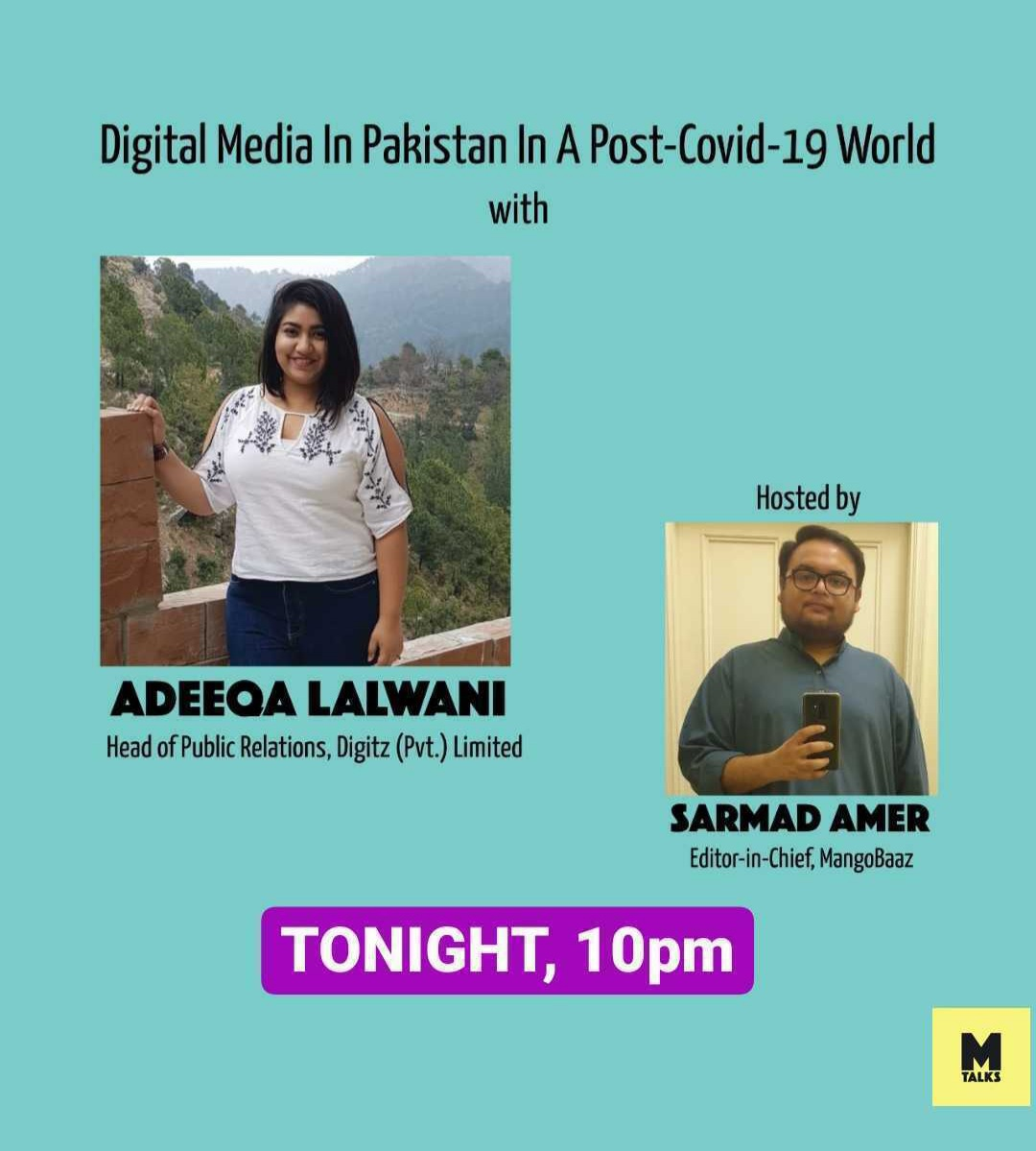 Catch me live with @MangoBaaz tonight, discussing Digital Media in Pakistan In a Post Covid-19 World! Excited to share how its changed the way digital is perceived! 10 pm, YouTube live! https://t.co/kyIfRhy1KE https://t.co/nGmehoxHuD