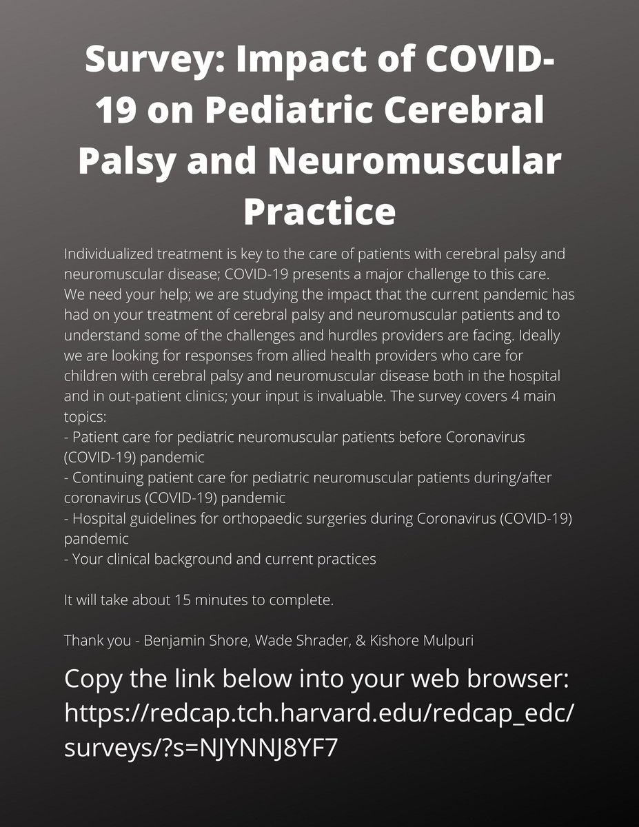 Have you had a chance to complete the survey?? Spend 15 minutes & improve care for children with #cerebralpalsy & #neuromuscular disease 👍🏽 https://t.co/DhUGDlS9TA  https://t.co/NBUhuXrE6h