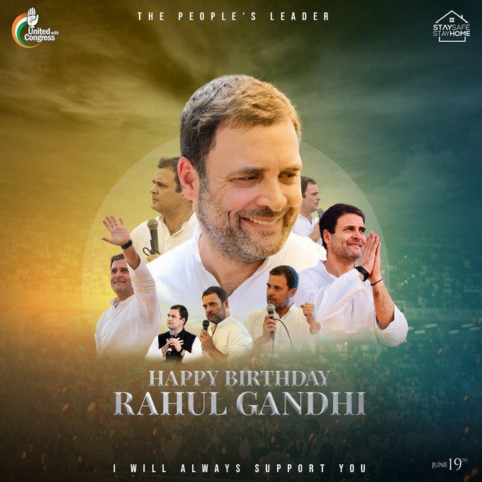 Wish u a very happy birthday to you mr. Rahul gandhi ji God bless you