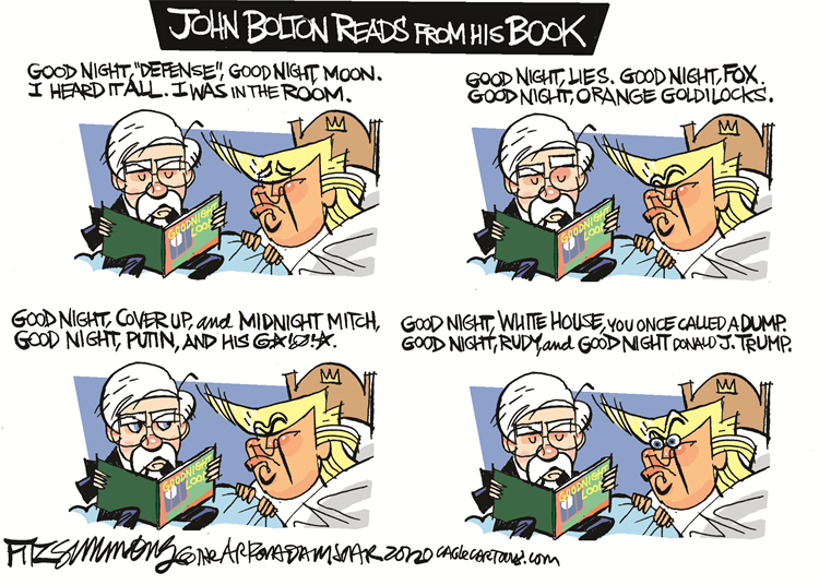 Oops, I forgot the link to my favorite #BoltonBook cartoons!  Go to my blog at: https://t.co/wGTlG5ZJG6  This is by Cagle Cartoonist, Dave Fitzsimmons  Subscribe for free: https://t.co/Q9T1TWi9rw Support the Cartoonists: https://t.co/zUIYTIAbVg  #BoltonsBook https://t.co/XCht9oIZY7