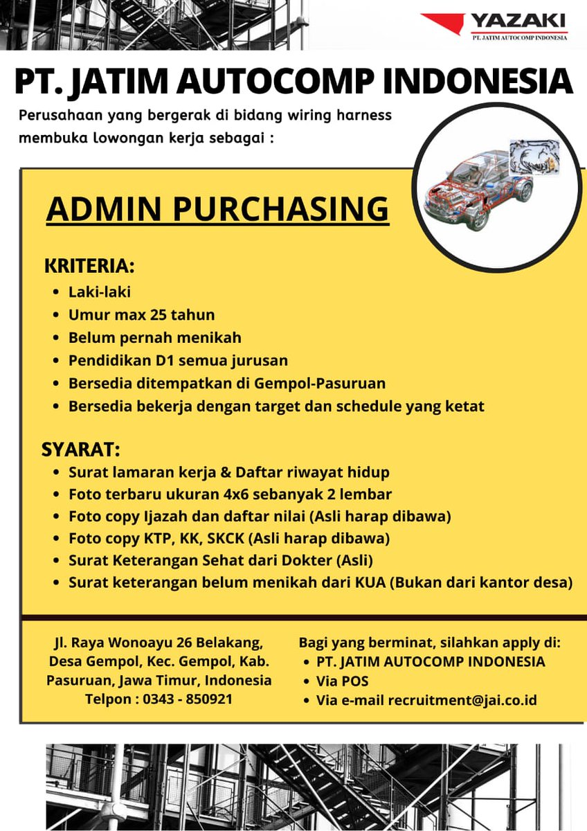 Bojonegorokarir Pa Twitter Open Recruitment Yazaki Pt Jatim Autocomp Indonesia Temukan Masa Depan Karirmu Bersama Kami