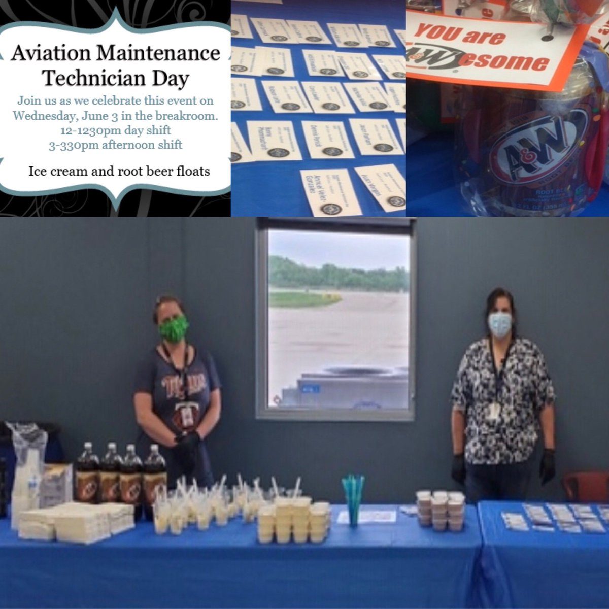 AAR #Rockford celebrated #Aviation Maintenance Technician Day with a root beer float celebration. Troy Primus, VP Operations, and Dany Kleiman, GM, thanked the entire staff for their wonderful work and dedication! #AMTday #RFD #BestTeamInAviation #MRO https://t.co/0xNnPE61B3