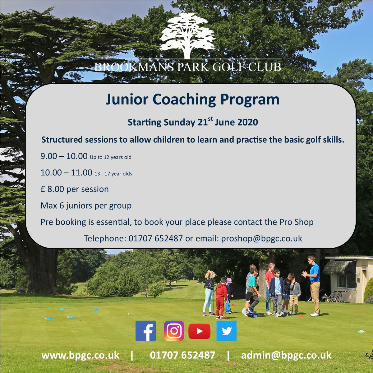 We love inspiring juniors to learn and practise the basic golf skills, there is no better way to get your child outside away from their computers. #juniorgolf #golfing #golfer #kidsgolf #golfcoach #golflessons #brookmansparkgolfclub pic.twitter.com/RNal6dztfl