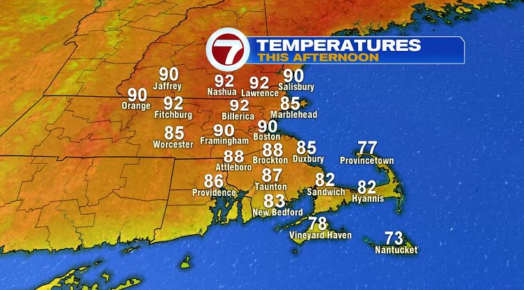Good chance Boston will hit 90 degrees for the first time this year later on today.