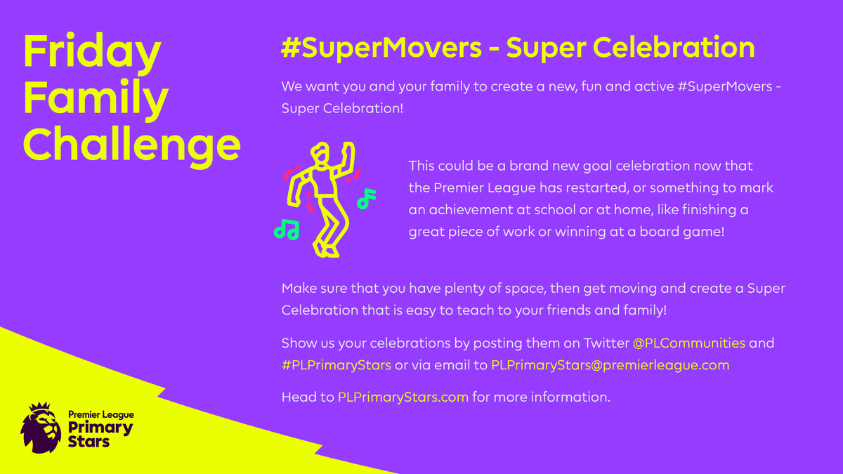 @Homebrosduo Celebrate the return of the Premier League with your own goal celebration 🎉  👍 Make sure you've got lots of space 🕺 Get moving  👨👧👦 Teach your friends and family  Find out more about how to take part ➡️➡️ https://t.co/BMvI1byKCy https://t.co/pRhwQmKtg8