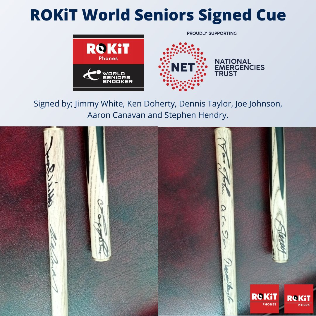 The last day of #ROKiTCharityWeek hasn't disappointed!🎉 Get your hands on a World Seniors Snooker snooker cue signed by snooker legends: @jimmywhite147, @kendoherty1997, @JoeJohnson86, @SHendry775 https://t.co/A2MOx78X39 All money raised is donated to #NETCoronavirusAppeal❤️ https://t.co/LZARAmz7V9