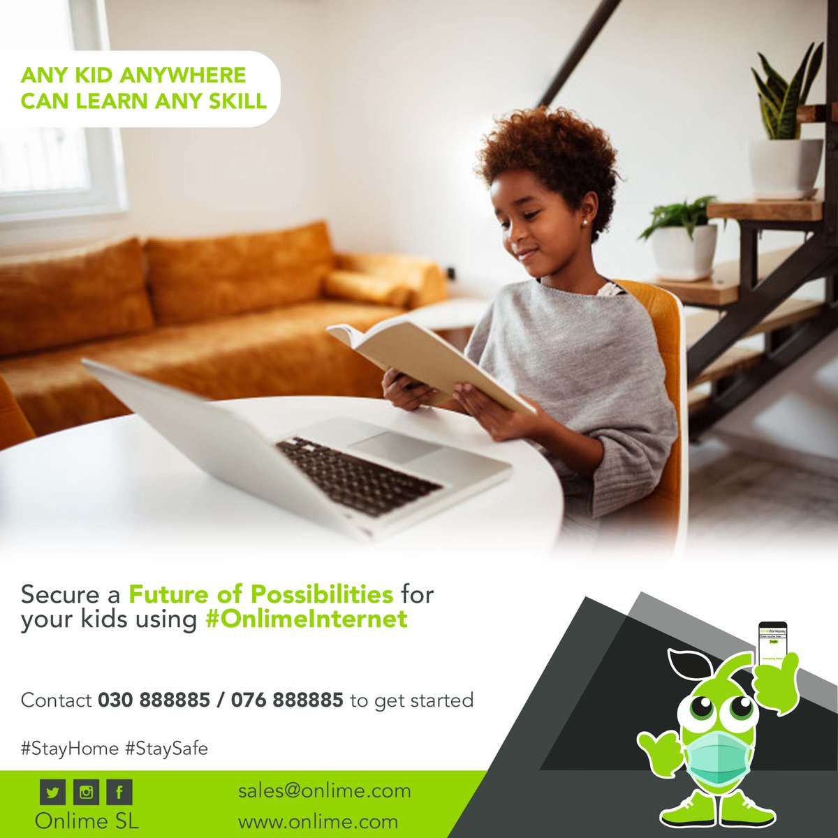 With the #Internet, kids today can learn things quicker than we do. Secure a Future of Possibilities for your kids using #OnlimeInternet  Call 076888885 / 030888885 to know more. #SierraLeone #Freetown #SaloneTwitter https://t.co/rUhRMn7CoT