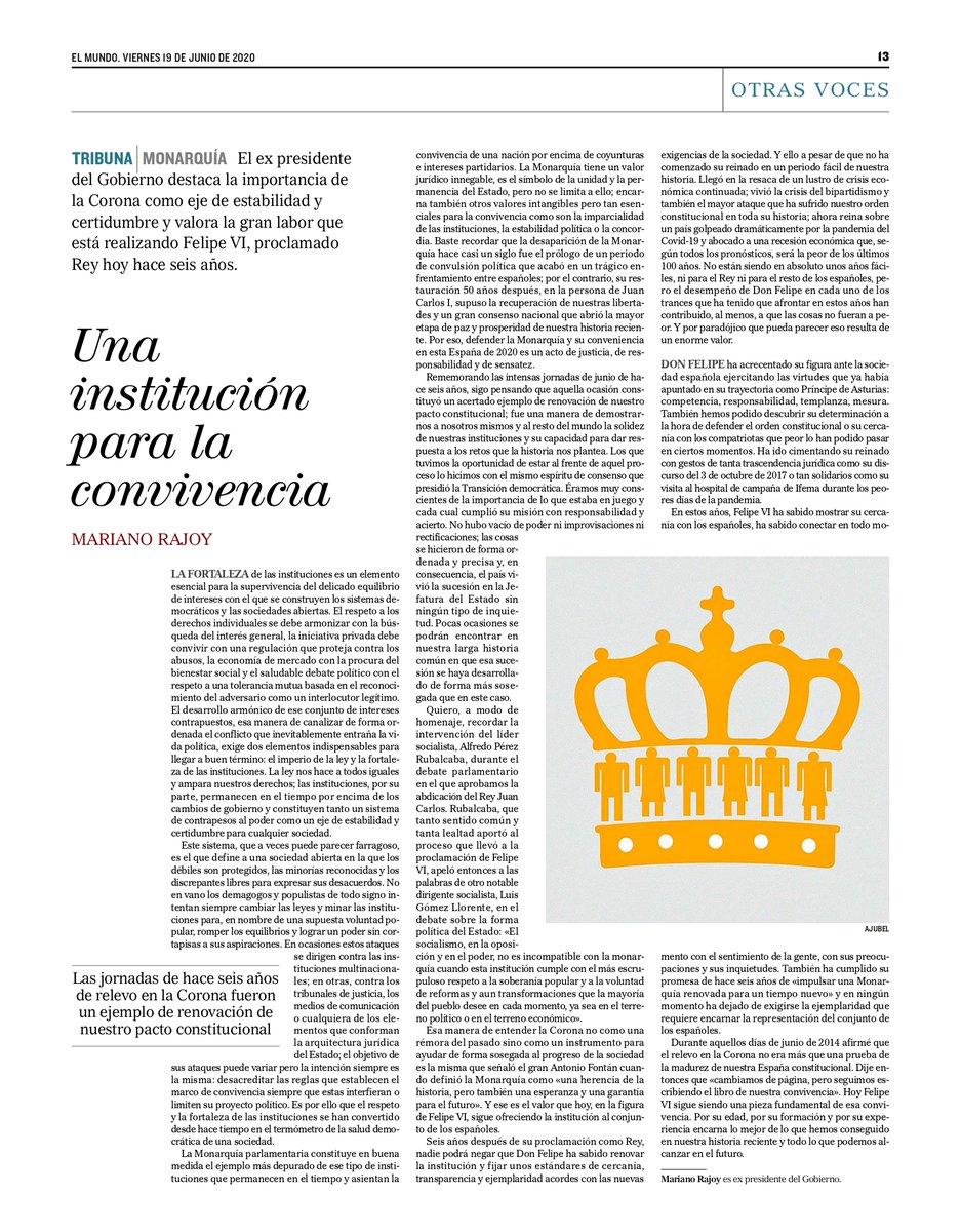 Hace seis años cambiamos de página pero seguimos escribiendo el libro de nuestra convivencia. Esta es mi tribuna en @elmundoes con motivo del aniversario de la proclamación de Felipe VI como Rey de España. https://t.co/1igwqU3ENQ