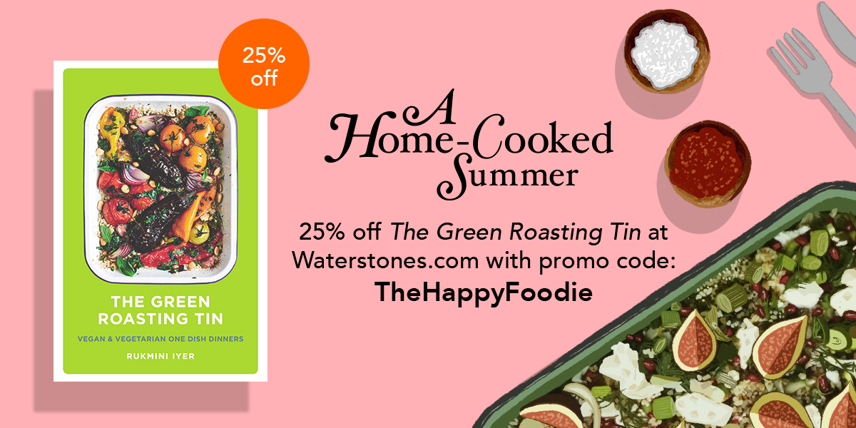 "For the month of June, we're offering an exclusive 25% discount off @missminifer's one-tin veggie bible, The Green Roasting Tin, at @Waterstones. Just click here and use the code ""TheHappyFoodie"": https://t.co/kFO1JgNXr4 https://t.co/V0YgWCfety"