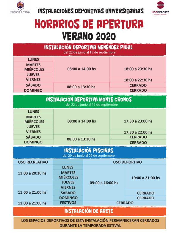 Horarios de apertura de las instalaciones deportivas de la  @Univcordoba gestionadas por @Ucodeporte_ a partir del próximo lunes 22 de Junio. Puede también descargarse en pdf desde nuestra web en el siguiente enlace ⏬ https://t.co/5NJrN9pys2 https://t.co/el2ToAuzAw