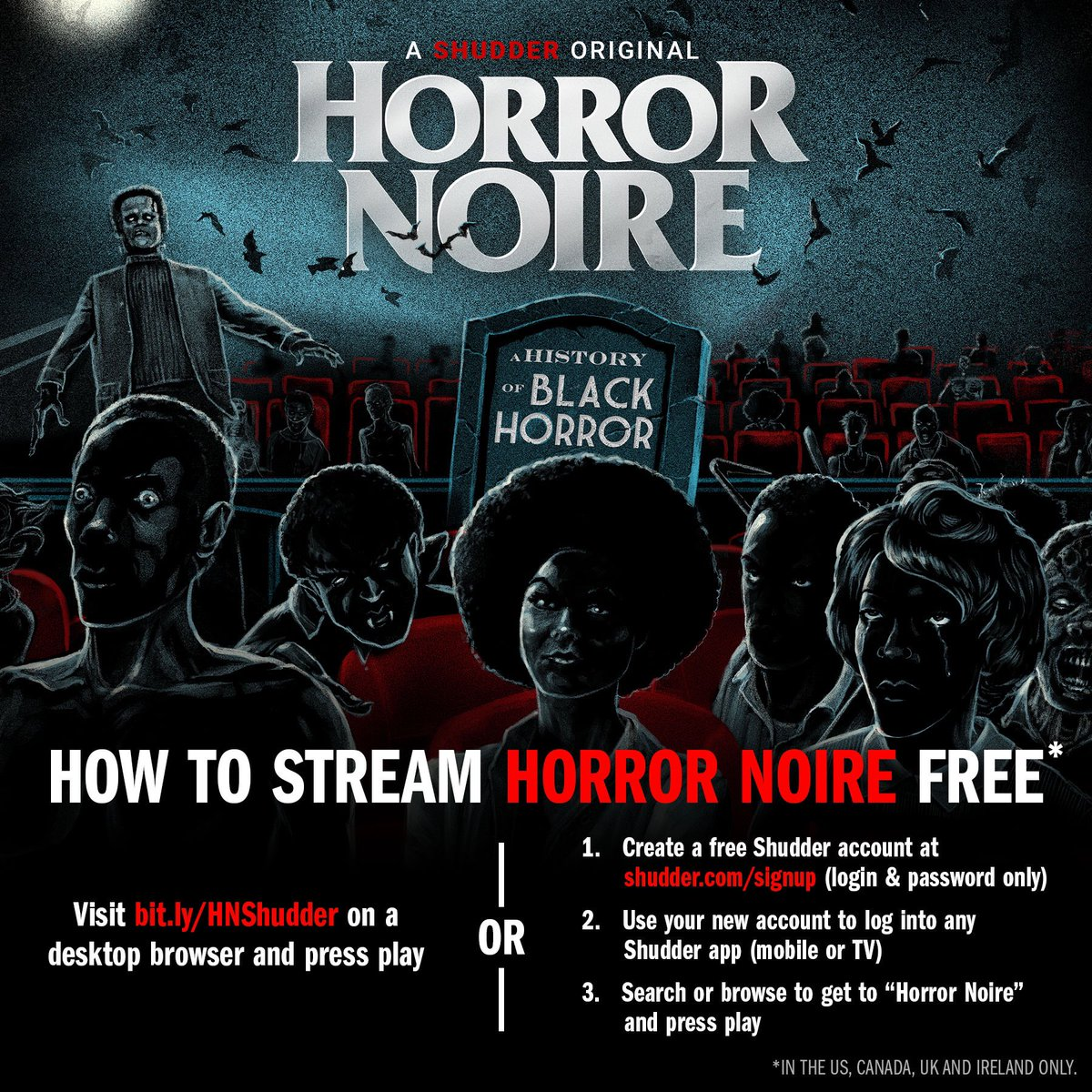 There's no excuse not to watch our documentary now! Horror Noire is free for everyone to watch. You can watch it on your desktop or make an account on @Shudder to watch it however you like. Don't miss out. #HorrorNoire