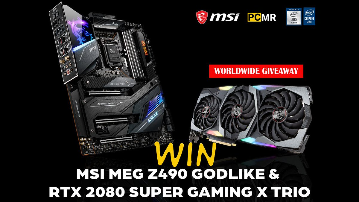 WORLDWIDE GIVEAWAY! We teamed up with @msiUSA to give away a very special combo to a very, very lucky person: MSI MEG Z490 GODLIKE motherboard + MSI RTX 2080 Super GAMING X Trio graphics card! Ready for some extreme performances?  Enter here: https://t.co/yc9SixIKzi https://t.co/MsUaZBt7u5