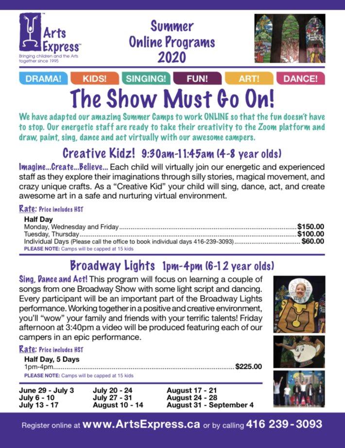 http://www.ArtsExpress.ca #online #summercamp #Signup  #camps add #creative light 2 your children's #summer #kids #artcamp #arts  #drama #funforkids #covid19 #online #onlinelearningforkids #onlinecamp #onlinelearning #arts #booknow #bestcampever #bestcamp #hereforparentspic.twitter.com/PzXb9cmp0s