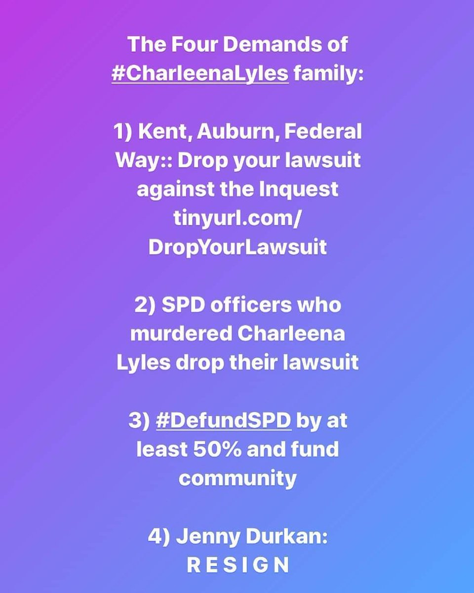 @MayorJenny These are the demands from Charleena's family. Resign.