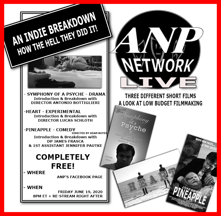 Tonight @ 8pm ET is another #ANPN #livestream featuring three different #shortfilms with breakdowns on each! Check it out only on Facebook!  #comedy #experiemntalfilm #dramas #independentfilmmakers #independentfilm #interviews #onlinefestival #onlinescreening #moviescreening pic.twitter.com/VGhZt2qQOU