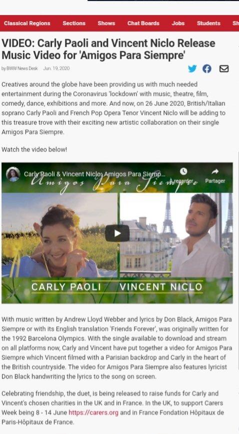 """[PRESSE ÉTRANGÈRE] Article via @BroadwayWorld """"@CarlyPaoli and @vincentniclo release music video for #AmigosParaSiempre""""   ➡️ https://t.co/CaUumlMNnH  Clip à voir ici ➡️ https://t.co/7GxxsoT08x https://t.co/Yb3auR1V4h"""