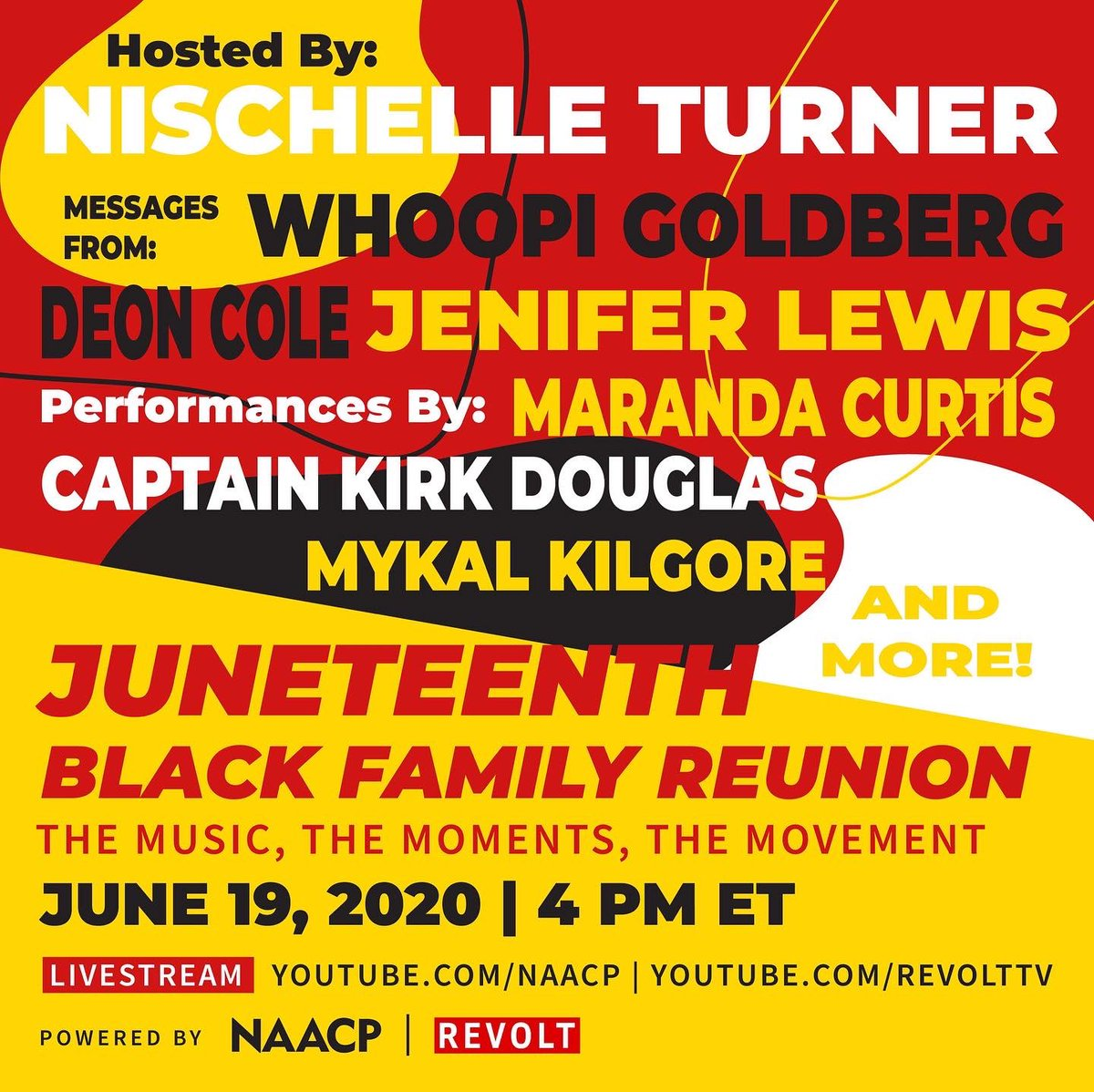 FAMILY: Join us and our partners at @revolttv TODAY at 4pm ET for the reunion we need right about now, followed by a #Juneteenth Town Hall discussion you don't want to miss!   RSVP: https://t.co/ehiTkHjnzD https://t.co/SuN8o3k3m3