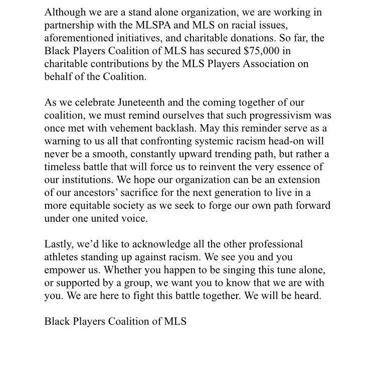 @BPCMLS is about giving BLACK PLAYERS in MLS a VOICE and making SYSTEMIC CHANGE both in & outside of our league. b.link/blackplayersco… #MLSisBLACK