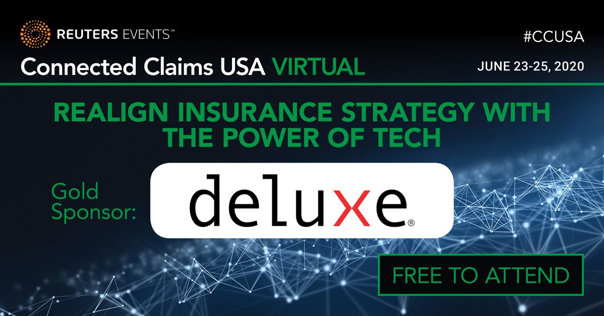Connected Claims USA, the world's first and leading claims event, has gone virtual. We are a Gold Sponsor and Deluxe's Tom Reuter will be presenting Digitization without Disruption on June 25 at 11am ET. Register here: https://t.co/WorsAwc7pn https://t.co/8oTJWdWlgz