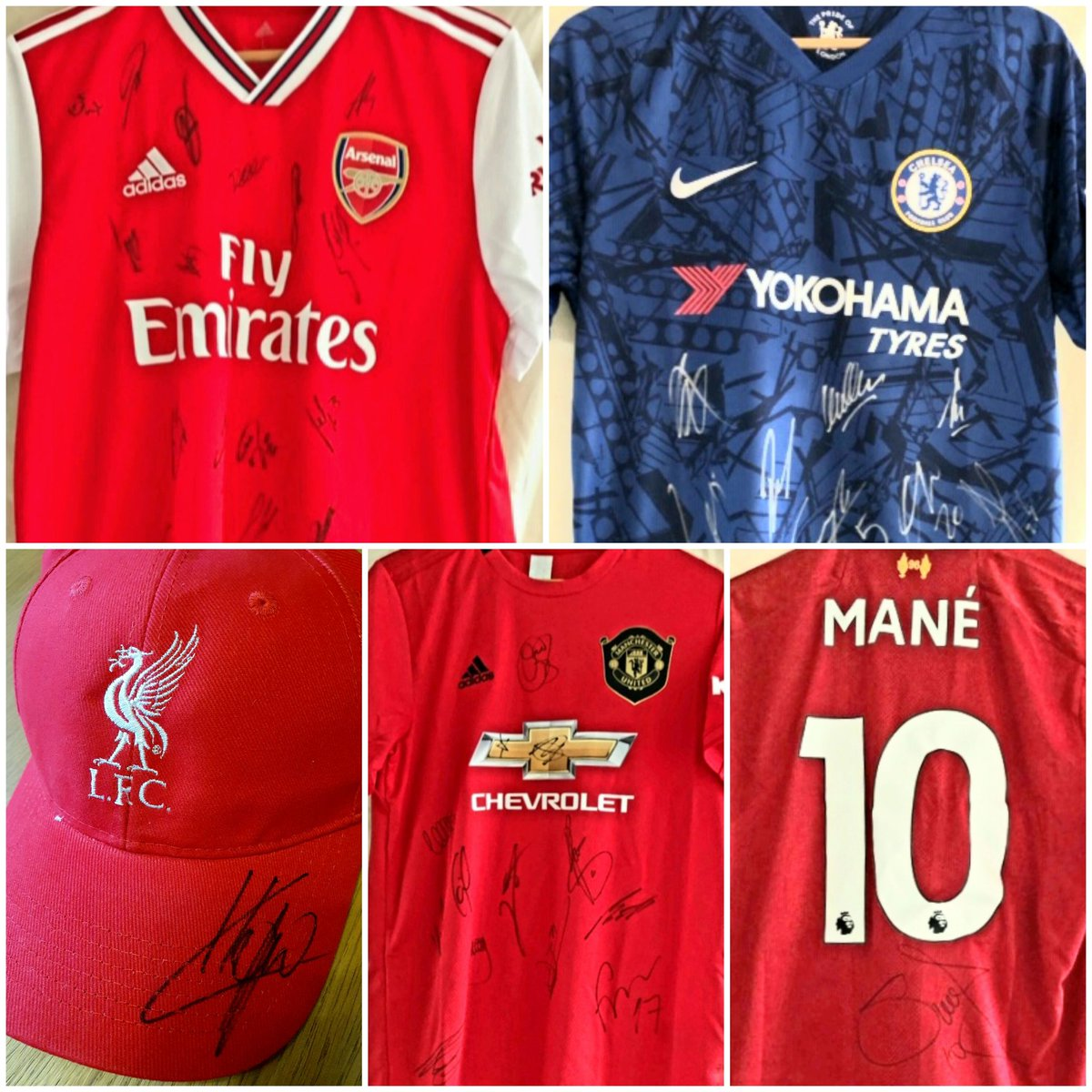 Hi guys we're doing a raffle to raise money for the acute oncology ward at @NNUHCharity that did so much for my Mum. Signed shirts from... #manutd #spurs #afc #cfc #WHUFC #ncfc #RBLeipzig #SadioMane & a #klopp cap.   Just £1 a ticket, click link 👇 https://t.co/qZLRUe9n3X https://t.co/h0Hw4MclLA
