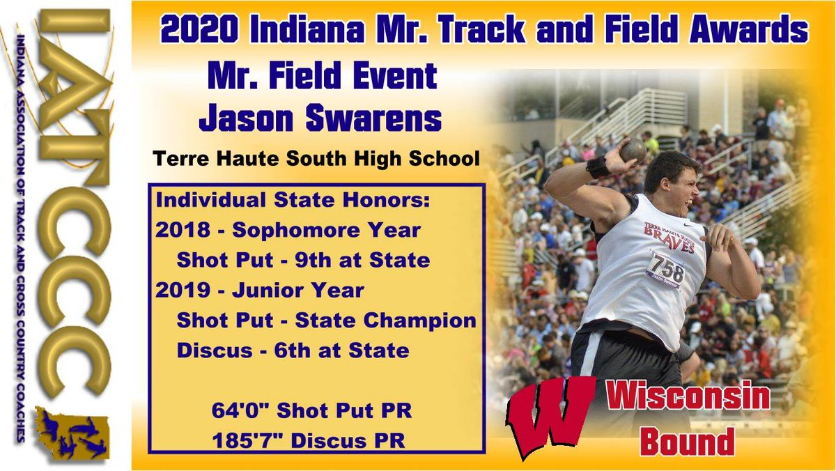 Next up is Mr Field Event Jason Swarens of Terre Haute South!!! @THS_TF @INTrackAllStars @BadgerTrackXC https://t.co/RGaBxgLVY6
