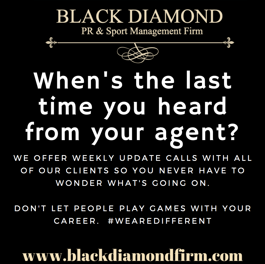 Communication is critical. Your window for advancement is small. Let's talk. https://t.co/pqWeX4Qllh  #BDsportsmgmt #WeAREYourPeople #BlackDiamondPR #NFLFreeAgent #NFL #CFL #IFL #NAL #MLB #NBA #athletemanagement #sportsmanagement https://t.co/Mz7DgnSqtY
