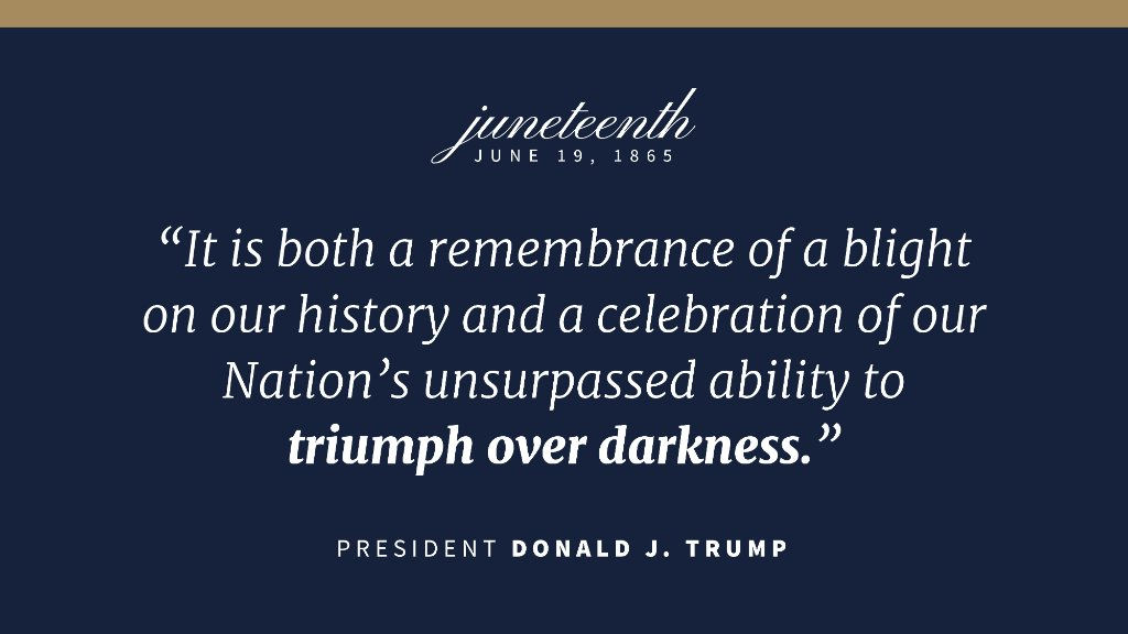 """Juneteenth is an opportunity for all of us to reaffirm our deep bonds of friendship and common purpose, and to recommit ourselves to the mission of ensuring all Americans have access to the resources needed to realize their dreams,"" says Dir. Andrei Iancu. Read @POTUS message:"