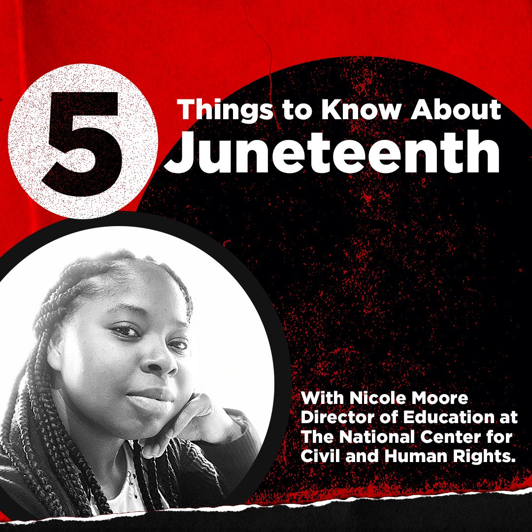 5 Things to Know About Juneteenth, a thread. Thank you to Nicole Moore, Director of Education at @ctr4chr for helping us share the information and recognize this important day. https://t.co/J5zKzs6YH2