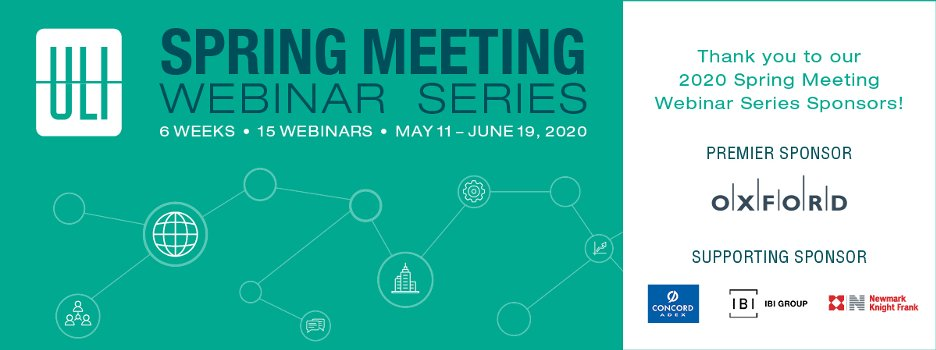 Thank you to our sponsors @OxfordProp, Concord Adex, @ibigroup, @Newmarkkf for making The 2020 Spring Meeting Webinar Series a success!   #ULISpring #Oxford #ConcordAdex #IBIGroup #NKF  https://t.co/SgJlAmqfAy https://t.co/G31LiAlq0I
