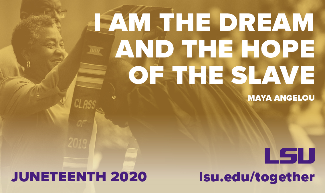 Juneteenth commemorates the freedom of the last enslaved Blacks in America, two and a half years after the Emancipation Proclamation. In addition to celebration, let this be a day of reflection for LSU and our country as we work towards true equality and freedom for all. https://t.co/uGSb0oj4CN