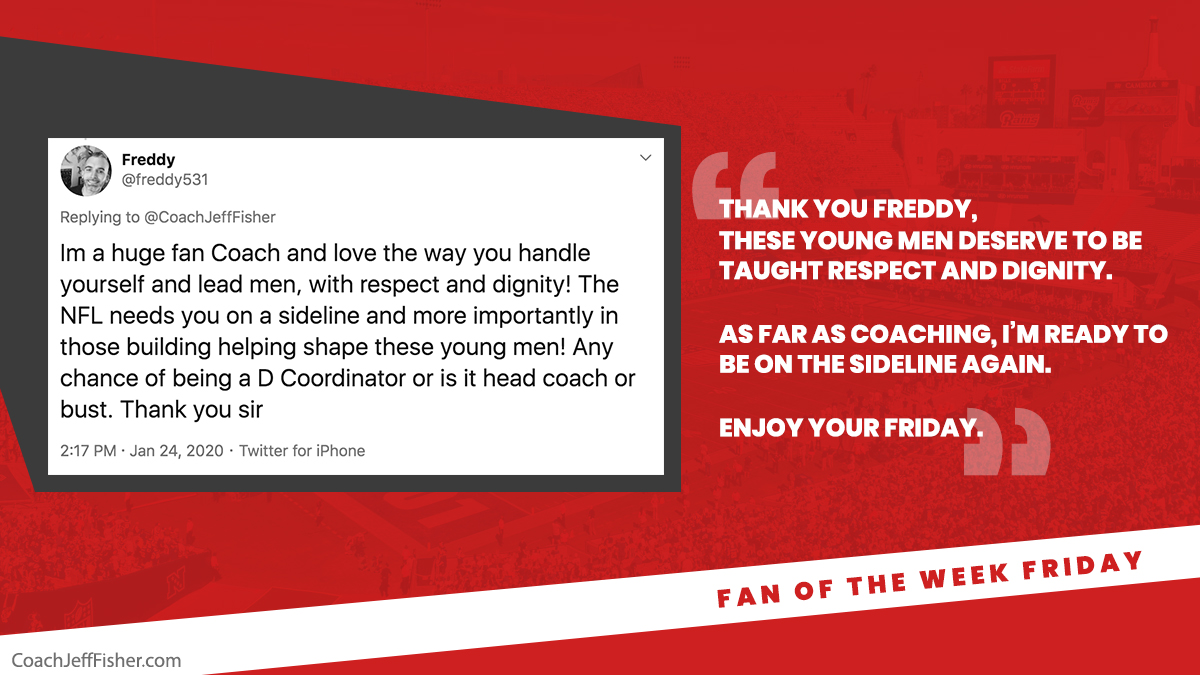 #FanOfTheWeekFriday  Thank you @freddy531 for the kind words👏 https://t.co/DwL0Pbw8O4