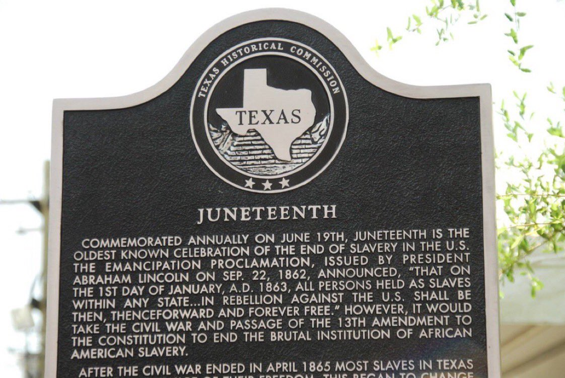 Today we celebrate #Juneteenth.   Texas was the 1st state to make Juneteenth a state holiday.   We celebrate the arrival of the Emancipation Proclamation in Texas & the abolition of slavery.  But this isn't a one day event--we must expand liberty & opportunity EVERY day. https://t.co/C9F9YrJKte