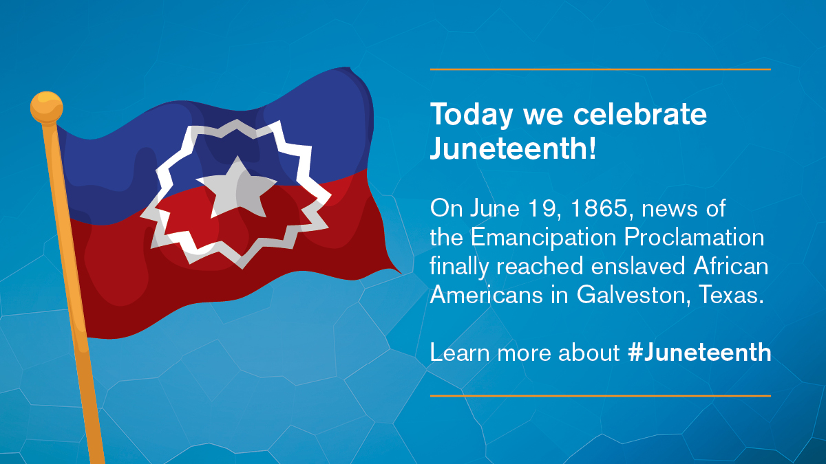 Today we celebrate #Juneteenth, a holiday that commemorates the emancipation of enslaved African Americans. Learn about the day's history. https://t.co/LLZHjHmQmI https://t.co/tB3cLmf1TW