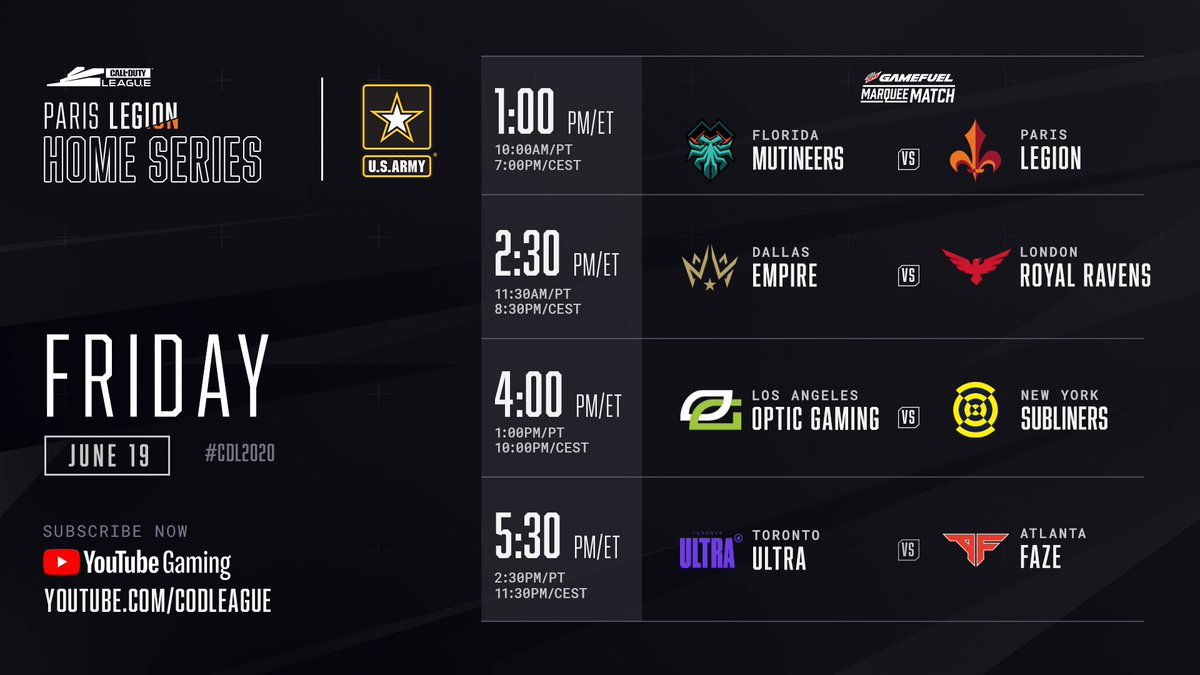 It's gametime: The Paris Home Series begins NOW on youtube.com/watch?v=Jqnnl9… ◾ @ParisLegion look to defend their host event ◾ Florida @Mutineers take aim at back-to-back wins ◾ @ATLFaZe & @DallasEmpire searching for redemption