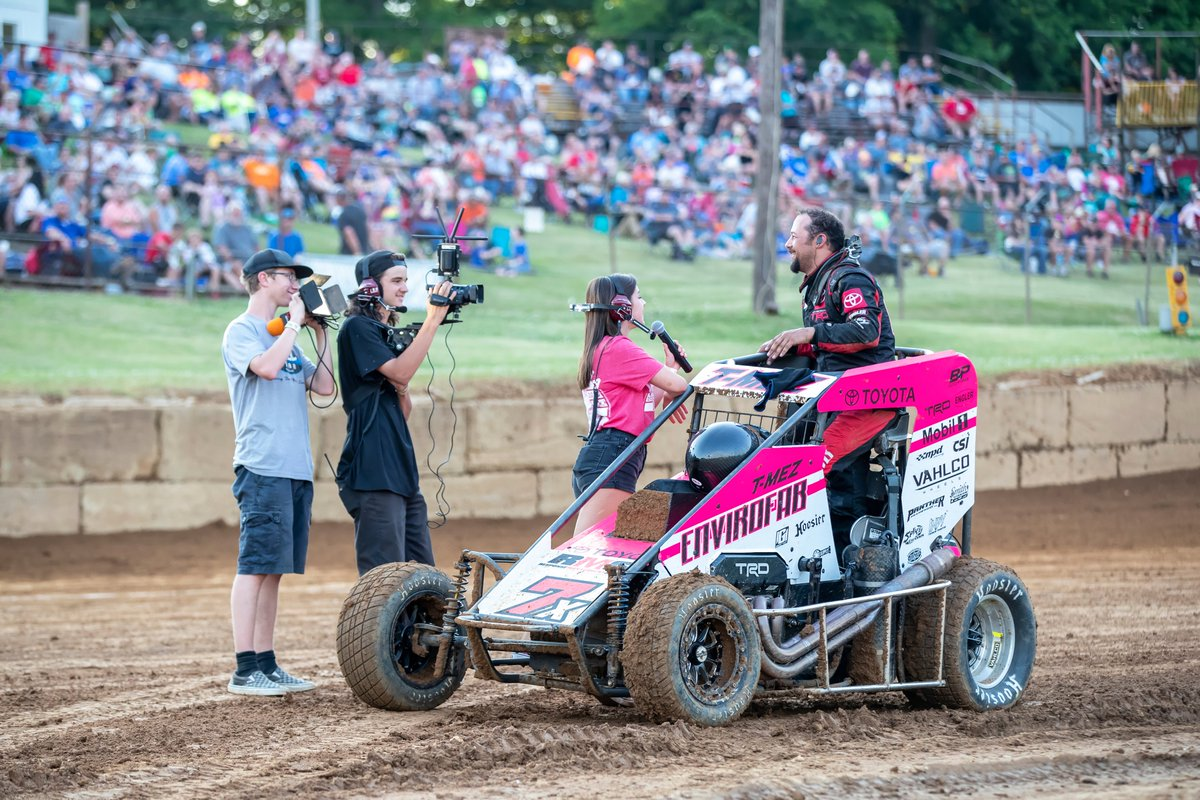 Thomas Meseraull hypes up the crowd after a heat race win at Lincoln Park Speedway. #IMW20