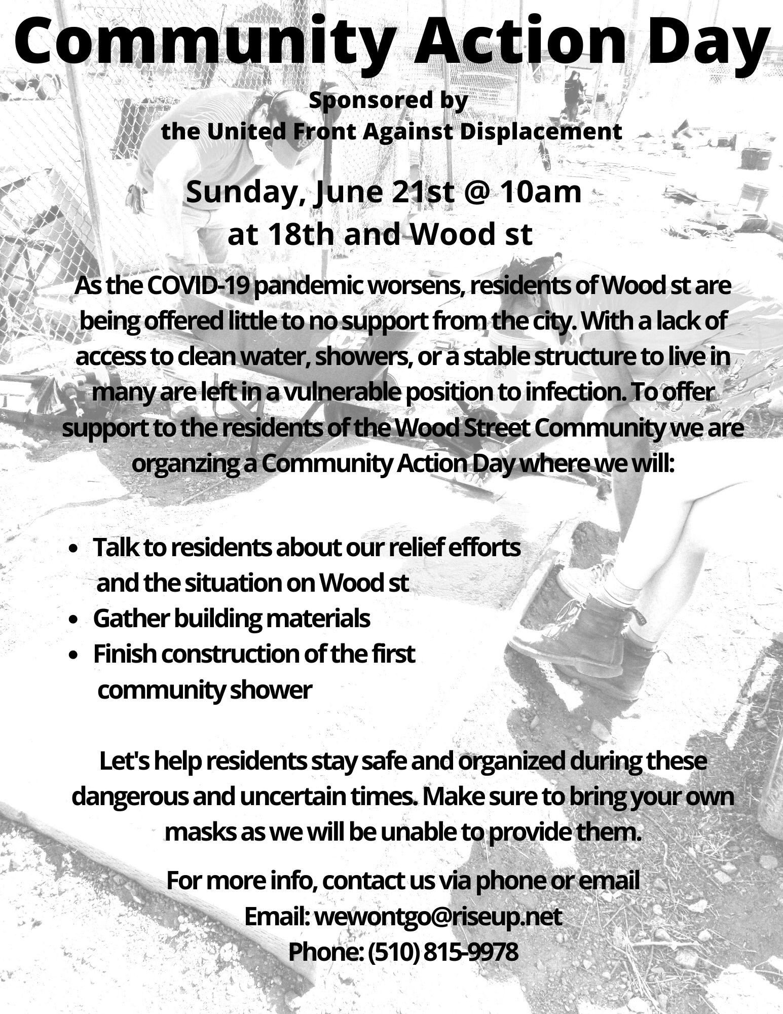Oakland's Wood St. Homeless – Community Action Day @ 18th & Wood St.