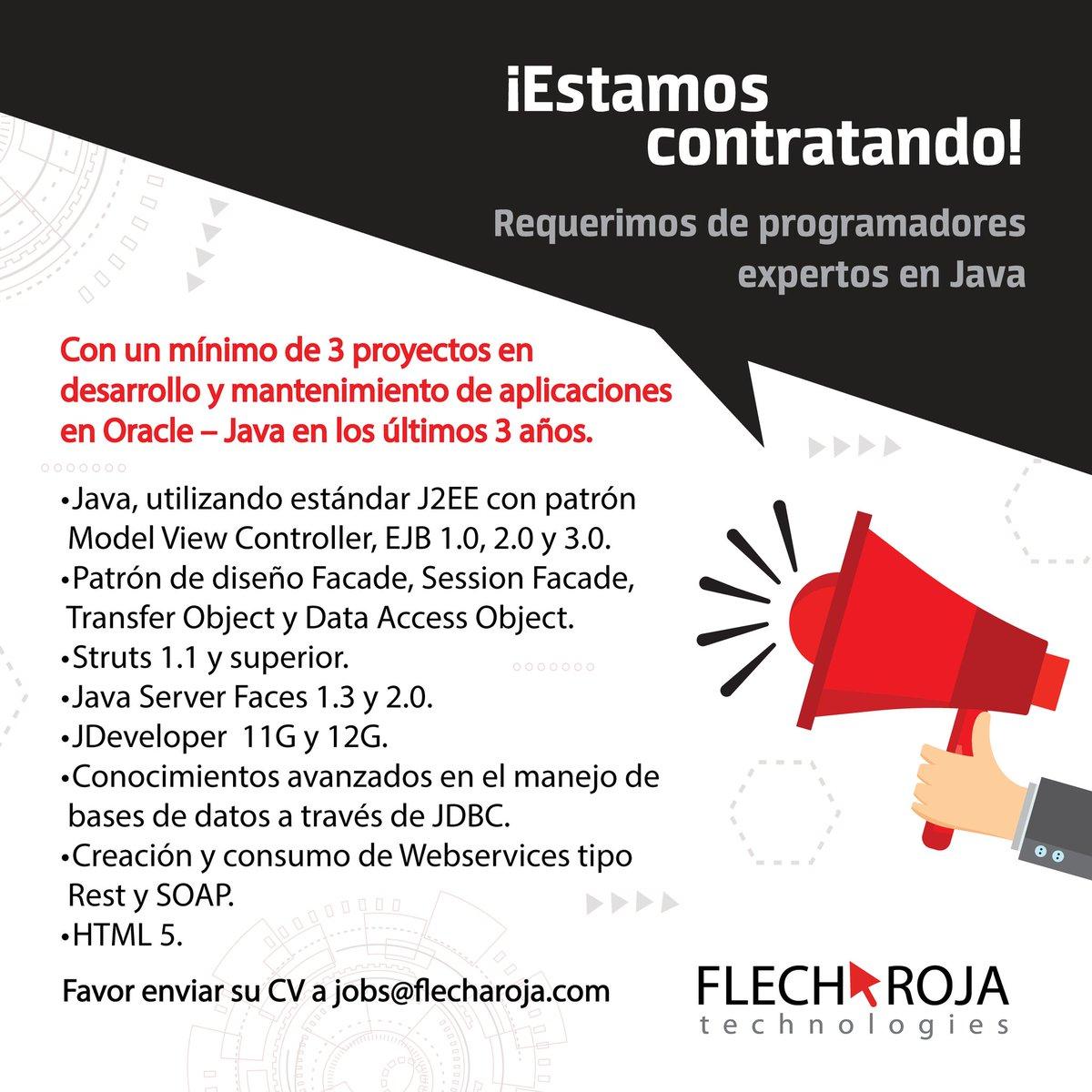 Estamos contratando programadores expertos en Java. Envíenos su CV a jobs@flecharoja.com #FlechaRoja #Jobs #Java https://t.co/iGguFiidyt