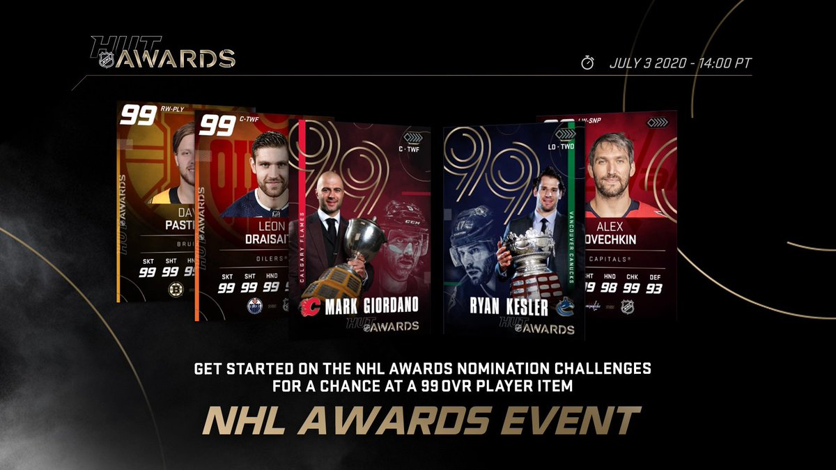 The HUT NHL Awards event is now LIVE in #NHL20 🏆   Take on the NHL Awards Nomination Challenges for a chance at a 99 OVR Player item 🤩 https://t.co/AFKReFgyj4