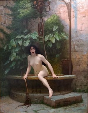"This is ""Truth coming from the well armed with her whip to chastise mankind"" (1896) by French artist Jean-Léon Gérôme. Thread"