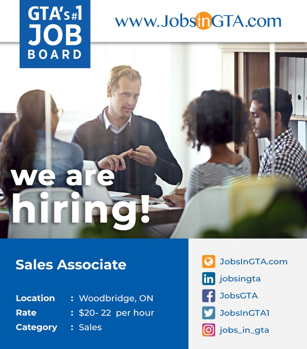 We're hiring ! We're looking for Sales Associate  Apply: https://t.co/dpZLEcieQP  #JobsInGTA #WorkFromHome #SalesJobs #SalesAssociate #Vacancy #Hiring #jobs #TorontoJobs #FridayMotivation #HappyWeekend #Ontario #GTA #Woodbridge #NorthYork #Canada https://t.co/im9oUXpDc9