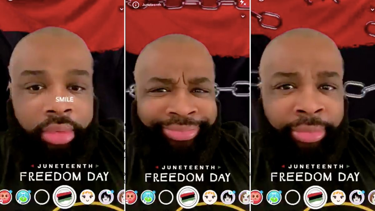 Snapchat's Juneteenth filter prompted users to smile to break chains. It's been taken down.