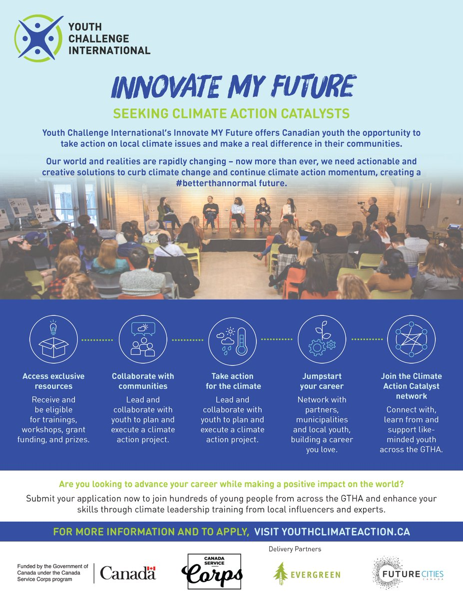 Hey #GTHA youth, your communities need #ClimateActionNow. Join @yci_org's #InnovateMYFuture program, funded by @Jobs_Emplois, to work with local experts, tackle #climateissues & make a difference. Learn more ➡ https://t.co/nplyWYMv1u https://t.co/UAbNdPAcY9