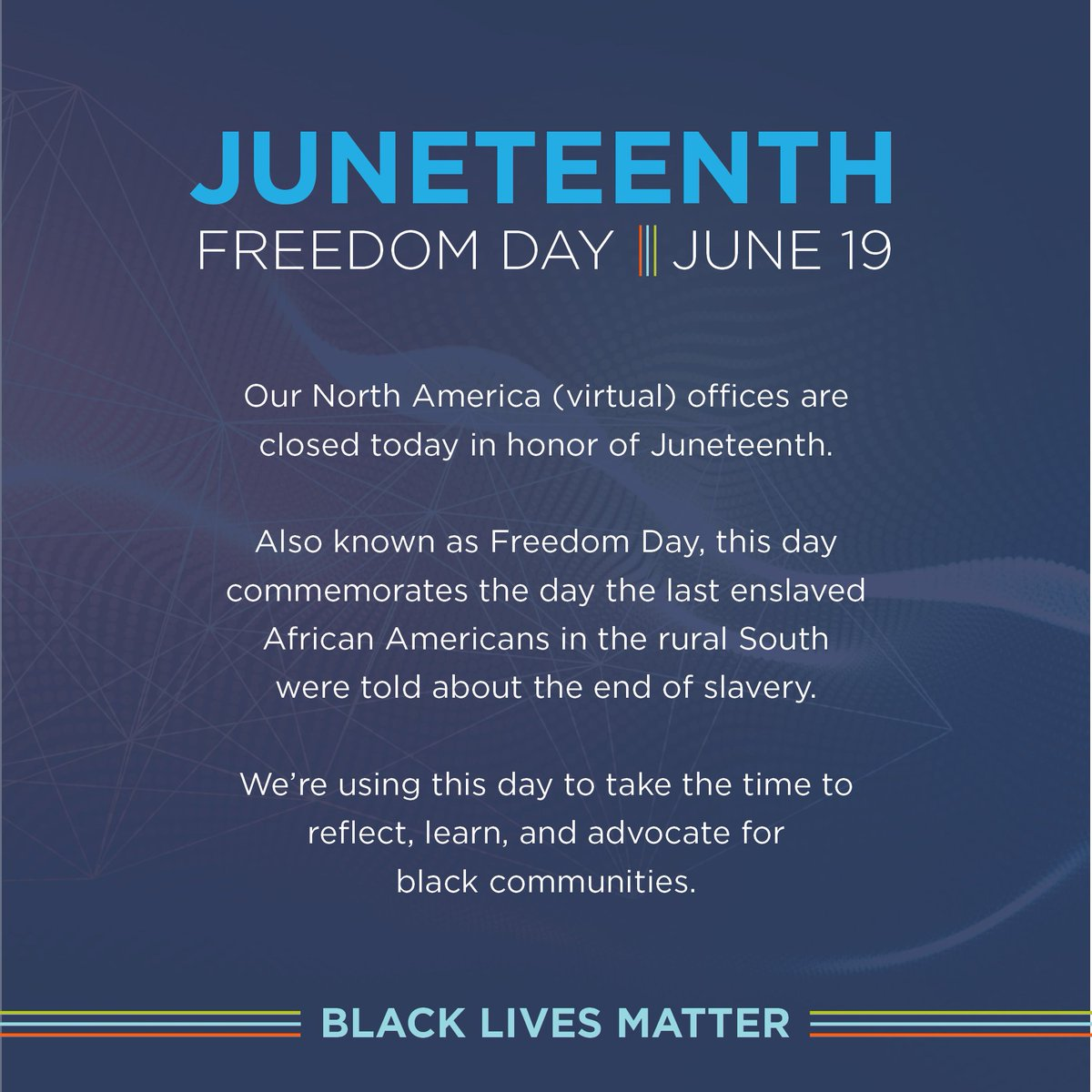Xaxis US is closed today in honor of Juneteenth, also known as Freedom Day. We're using this day to reflect, learn, & advocate for black communities.  Here are some resources & information that our friends at @Mindshare_USA put together: https://t.co/e8Y7Vz5Ez9 https://t.co/0z9JQcpEXp