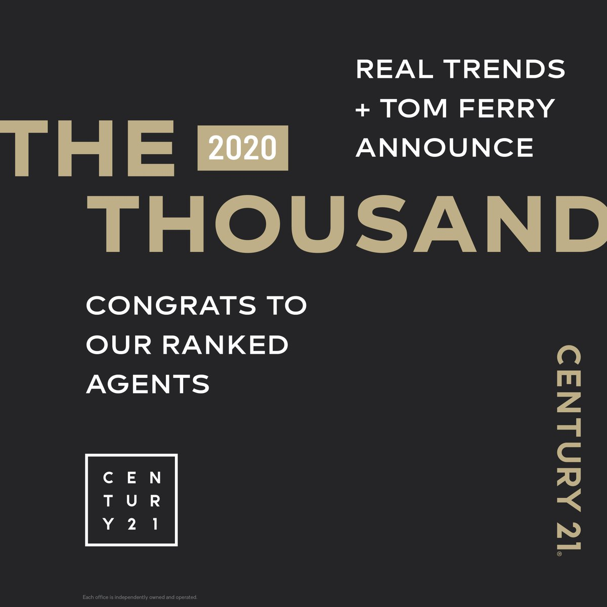 Congrats to the 55 C21 Affiliates named to 2020 The Thousand! #C21Relentless | https://t.co/LVxSnteYmA https://t.co/qrszD0Ssy4