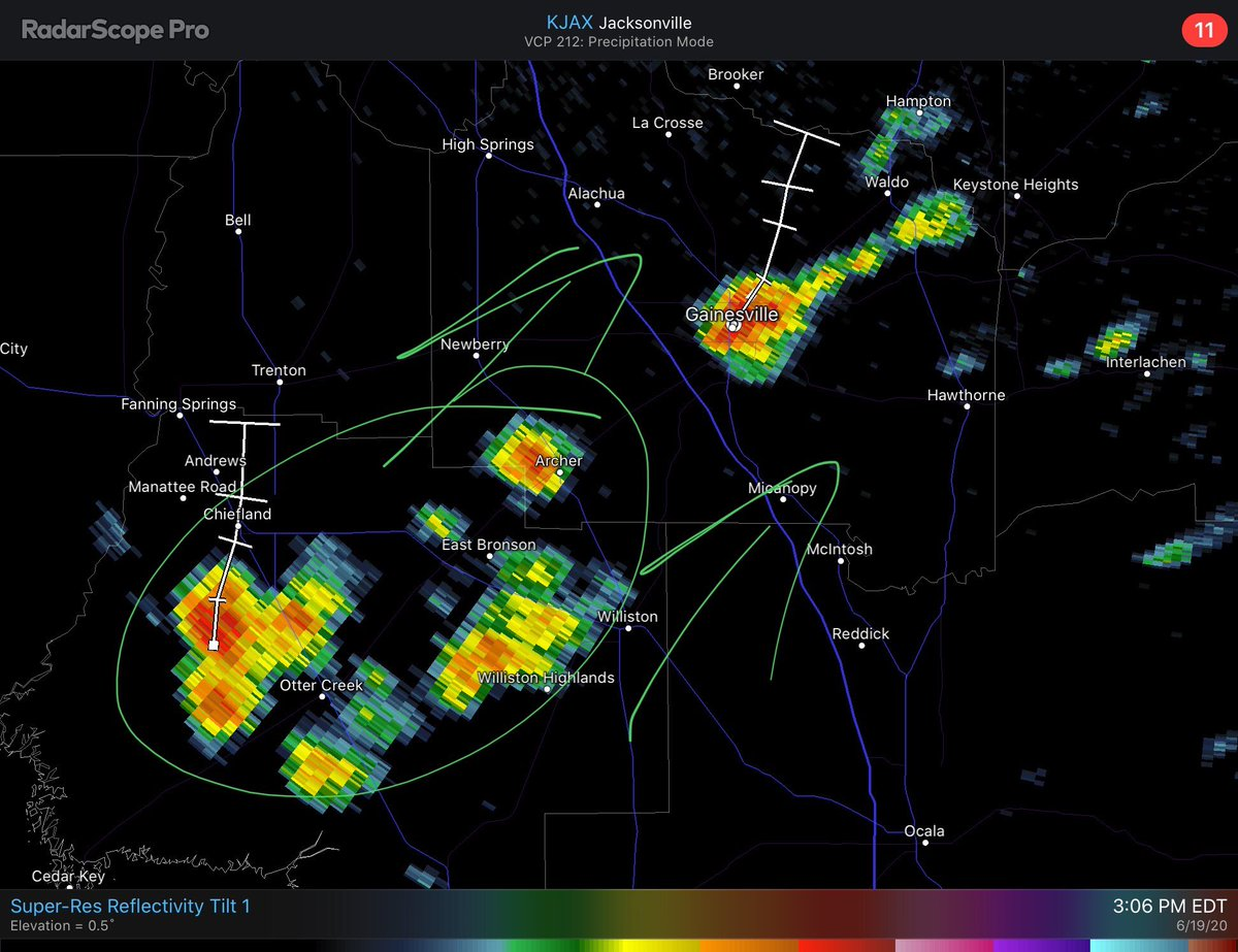 First batch of downpours is moving out of #Gainesville, but several more rounds are on the way. #FLwx