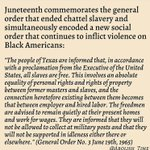 Image for the Tweet beginning: In honor of Juneteenth, here