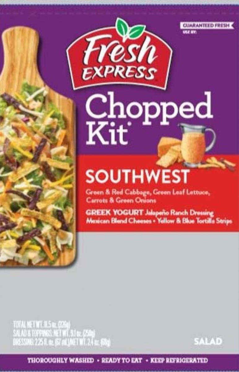 Fresh Express Announces Precautionary Recall of a Limited Quantity of Southwest Chopped Kit Due to the Presence of Undeclared Allergens https://t.co/Lo2qOe0zWT https://t.co/rThlDOdlKl