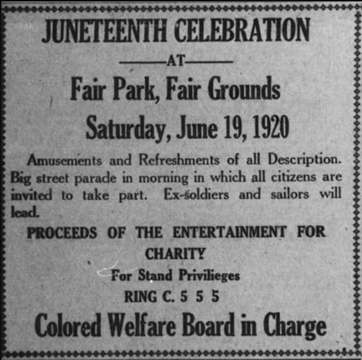 Check out this advertisement for a #Juneteenth Celebration at Fair Park from 100 years ago!